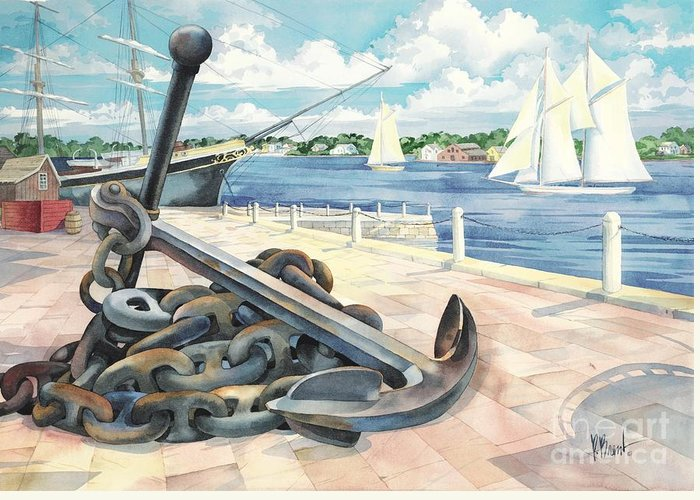 Sailboat Greeting Card featuring the painting Portside Anchor by Paul Brent