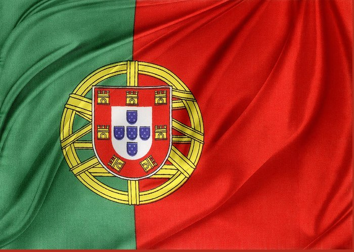 Portugal Flag Greeting Card featuring the photograph Portuguese Flag by Les Cunliffe
