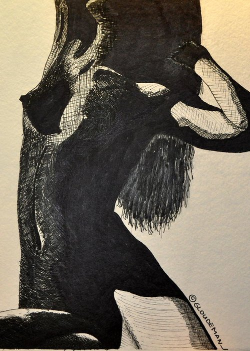 Nude Greeting Card featuring the drawing Pose by Denis Gloudeman