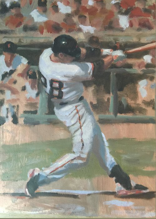 Buster Posey Greeting Card featuring the painting Posey Shot by Darren Kerr