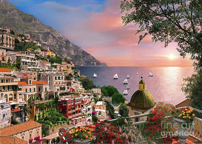 Positano Greeting Card featuring the digital art Positano by Dominic Davison