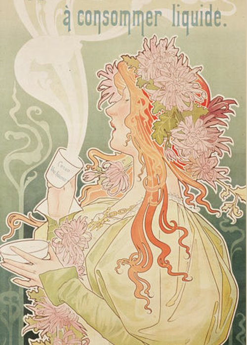 Art Nouveau Greeting Card featuring the painting Poster Advertising Caco Van Houten by Privat Livemont