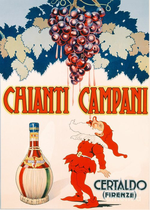 Poster Advertising Chianti Campani Greeting Card featuring the drawing Poster Advertising Chianti Campani by Necchi