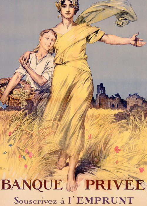 World War One Greeting Card featuring the painting Poster Advertising The National Loan by Rene Lelong