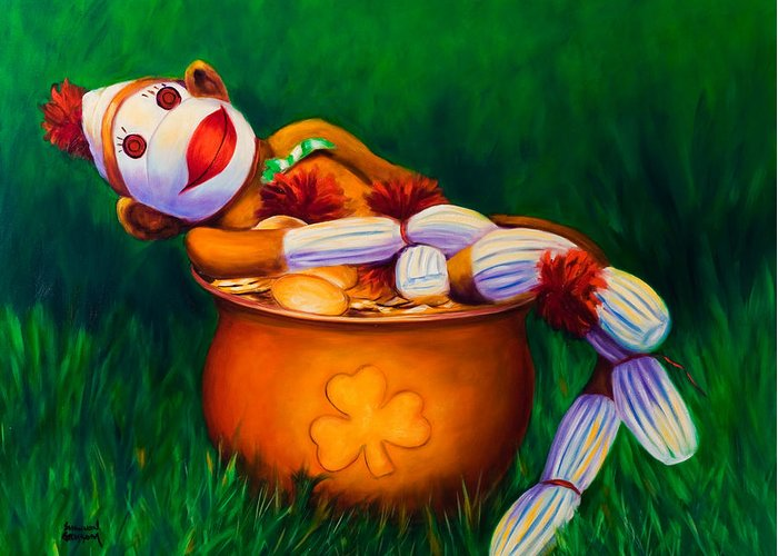 St. Patrick's Day Greeting Card featuring the painting Pot O Gold by Shannon Grissom