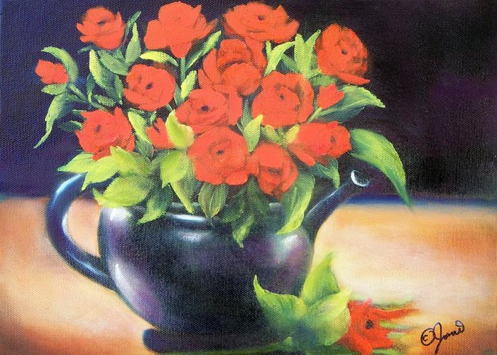 Still Life Greeting Card featuring the painting Pot Of Roses by Joni McPherson