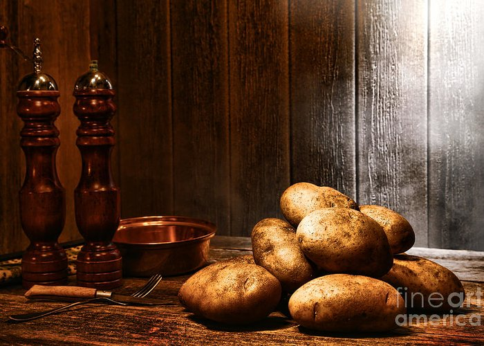 Potatoes Greeting Card featuring the photograph Potatoes by Olivier Le Queinec