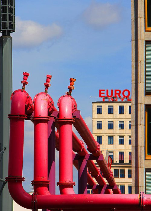 Potsdamerplatz Greeting Card featuring the photograph Potsdamer Platz Pink Pipes In Berlin by Ben and Raisa Gertsberg