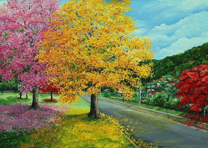 Poui Trees Greeting Card featuring the painting Poui In Diego by Karin Dawn Kelshall- Best