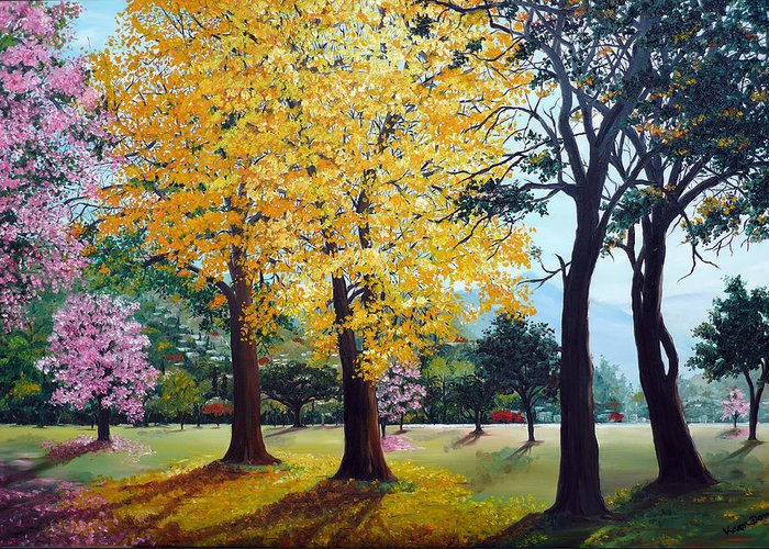 Tree Painting Landscape Painting Caribbean Painting Poui Tree Yellow Blossoms Trinidad Queens Park Savannah Port Of Spain Trinidad And Tobago Painting Savannah Tropical Painting Greeting Card featuring the painting Poui Trees in the Savannah by Karin Dawn Kelshall- Best