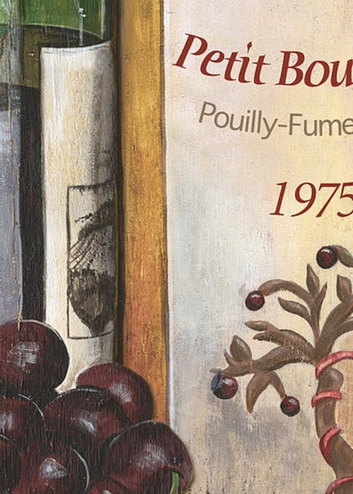 Red Grapes Greeting Card featuring the painting Pouilly Fume 1975 by Debbie DeWitt
