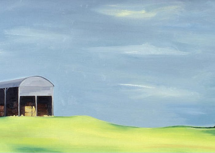 Agriculture & Rural Scenes Greeting Card featuring the painting Poulton Fields by Ana Bianchi