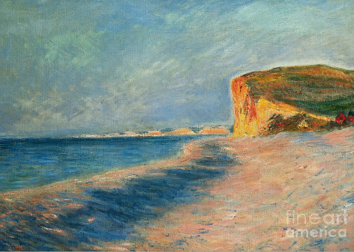Outdoor; Outdoors; Outside; Painting; Peace; Peaceful; Perspective; Picturesque; Positive Concepts; Pourville; Pourville Pres De Dieppe; Quiet; Receding View; Rock; Sea; Seine Maritime; Shore; Shoreline; Sky; Still; Sun; Sunlight; Sunny; Tide; Time Of Day; Tranquil; Tranquility; Water; Waves Greeting Card featuring the painting Pourville Near Dieppe by Claude Monet