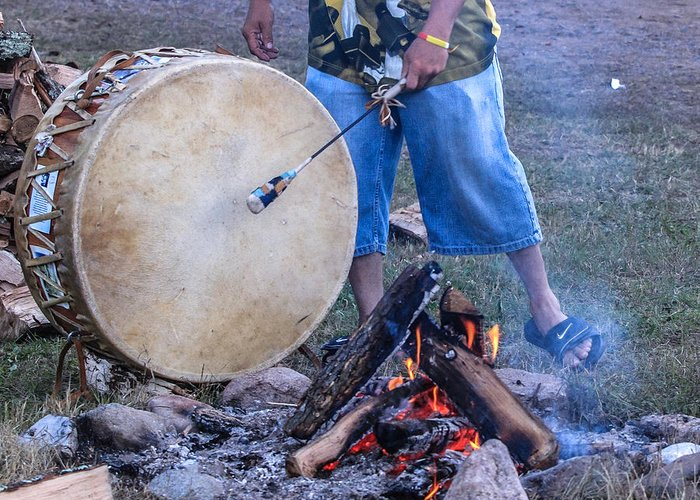 Honor The Earth Greeting Card featuring the photograph Pow Wow 58 Tuning The Drum by Keith R Crowley