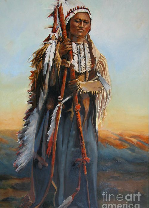American Indian Portrait Greeting Card featuring the painting Powderface by Synnove Pettersen