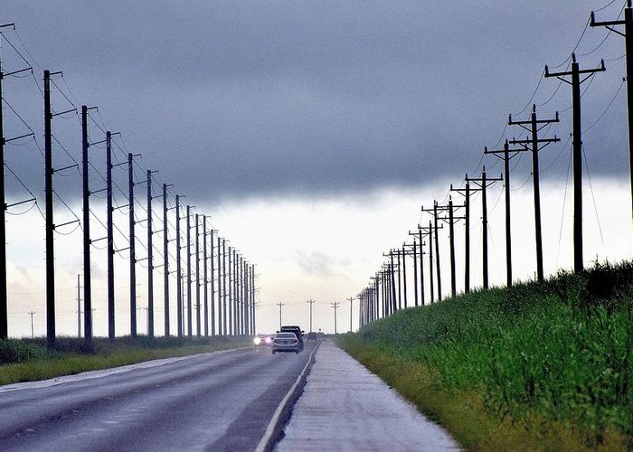 Telephone Poles Greeting Card featuring the photograph Power Lines57 by Lawrence Hess
