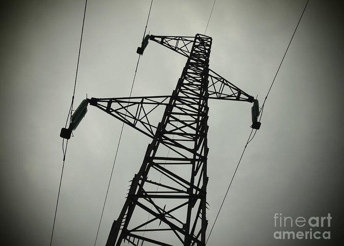 Voltage Greeting Card featuring the photograph Power Pole by Bernard Jaubert