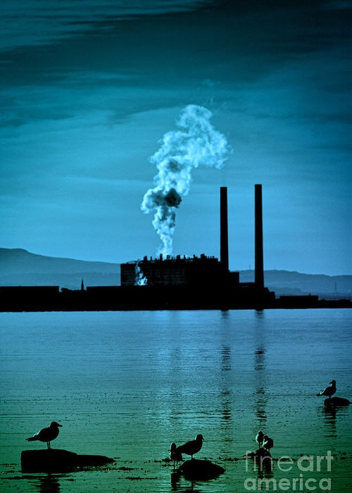 Abstract Greeting Card featuring the photograph Power Station Silhouette by Craig B