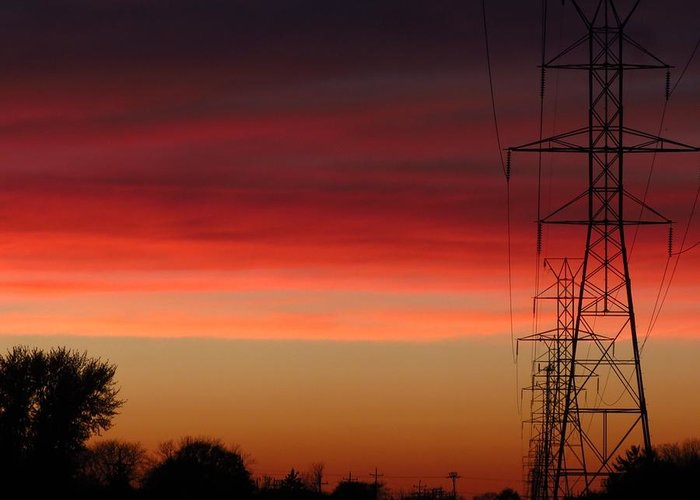 Powerlines Greeting Card featuring the photograph Powered by Nikki Watson  McInnes