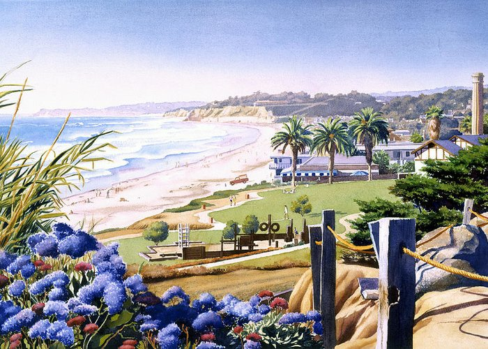 Powerhouse Greeting Card featuring the painting Powerhouse Beach Del Mar Blue by Mary Helmreich