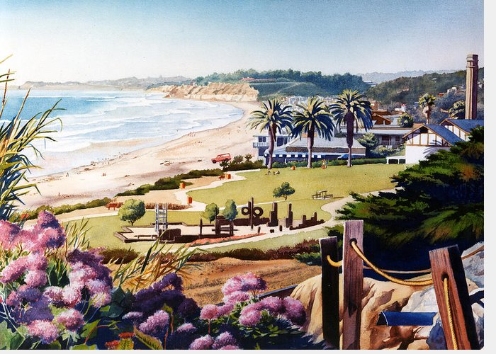Powerhouse Greeting Card featuring the painting Powerhouse Beach Del Mar Lilac by Mary Helmreich