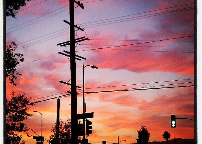 Sunset Greeting Card featuring the photograph Powerpole by Arya Acier