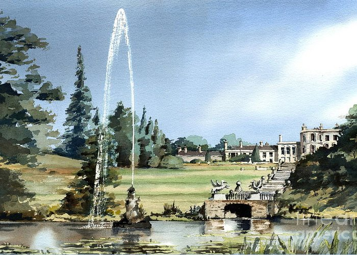 Val Byrne Greeting Card featuring the painting Powerscourt House, Enniskerry, Co. Wicklow by Val Byrne