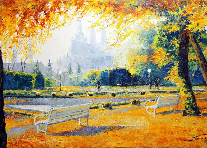 Prague Autumn In The Kralovska Zahrada Greeting Card featuring the painting Prague Autumn In The Kralovska Zahrada by Yuriy Shevchuk