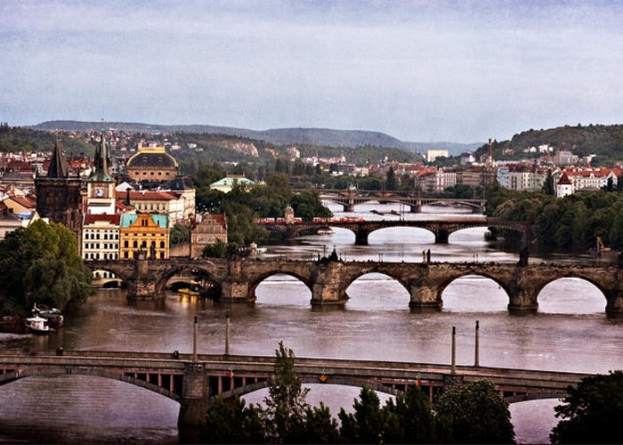 Prague Greeting Card featuring the photograph Prague Cityscape - Texture by Barry O Carroll