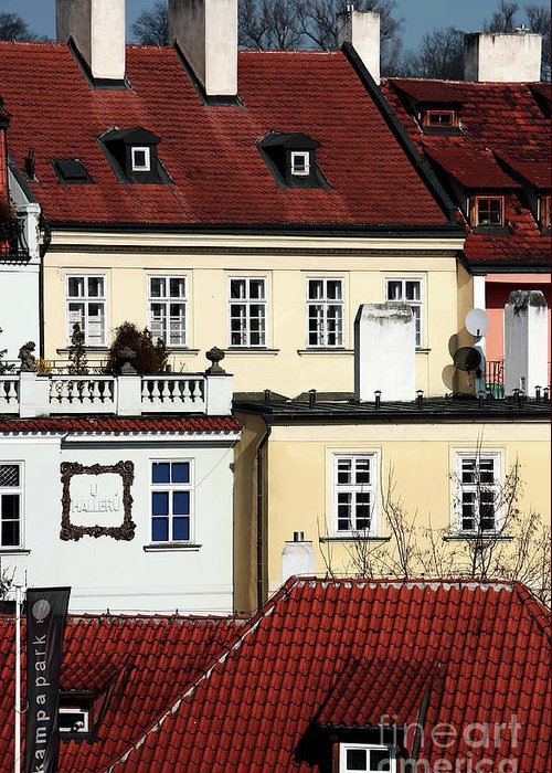 Prague Houses Greeting Card featuring the photograph Prague Houses by John Rizzuto