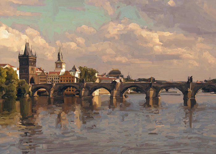 Czech Republic Greeting Card featuring the painting Prague by Nop Briex