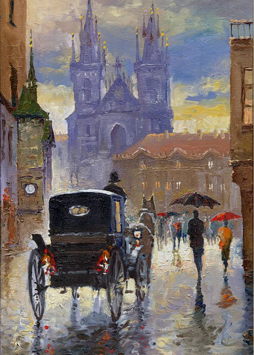 Oil On Canvas Greeting Card featuring the painting Prague Old Town Square Old Cab by Yuriy Shevchuk