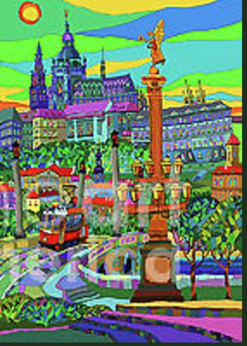 Prague Greeting Card featuring the mixed media Prague Panorama With Manesuv Bridge by Yuriy Shevchuk