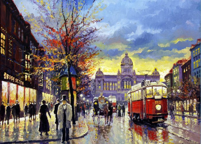 Oil On Canvas Greeting Card featuring the painting Prague Vaclav Square Old Tram Imitation By Cortez by Yuriy Shevchuk