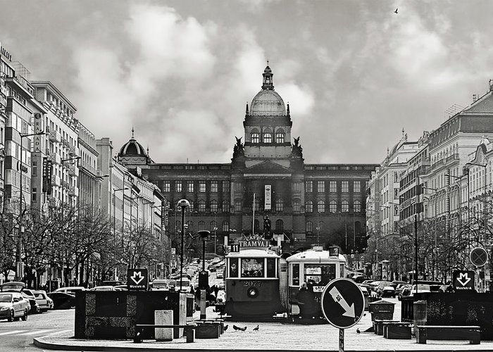 New Town Greeting Card featuring the photograph Prague Wenceslas Square And National Museum by Christine Till