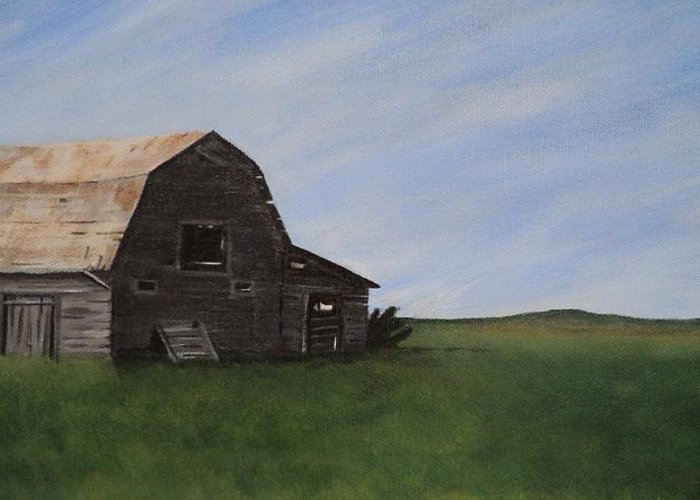 Prairie Greeting Card featuring the painting Prairie Barn by Jesslyn Fraser