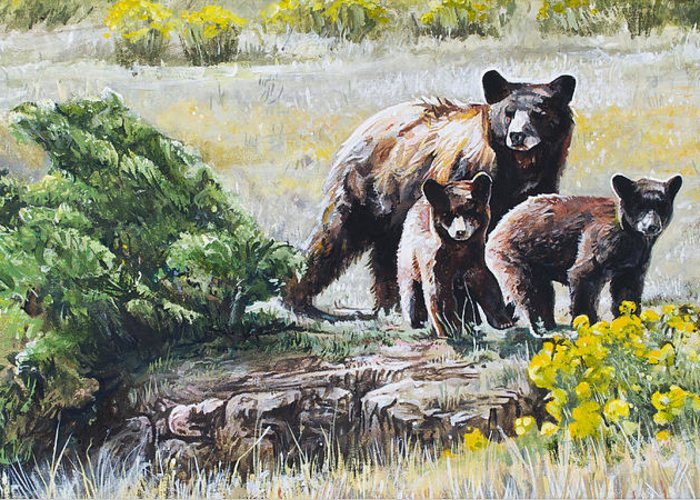 Bear Greeting Card featuring the painting Prairie Black Bears by Aaron Spong