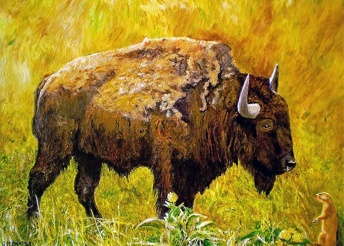 Buffalo Greeting Card featuring the painting Prairie Companions by Michael Durst