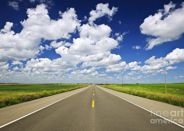 Highway Greeting Card featuring the photograph Prairie Highway by Elena Elisseeva