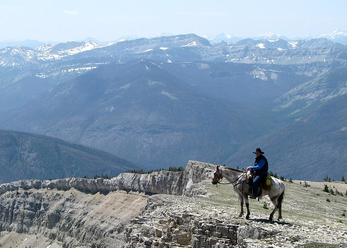 Prairie Reef Fire Lookout Greeting Card featuring the photograph Prairie Reef View With Horse And Rider by Pam Little