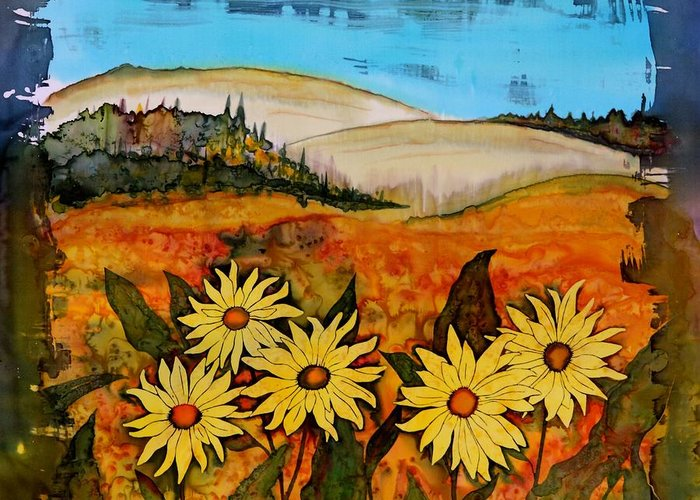 Wildflowers Greeting Card featuring the tapestry - textile Prairie Wildflowers by Carolyn Doe