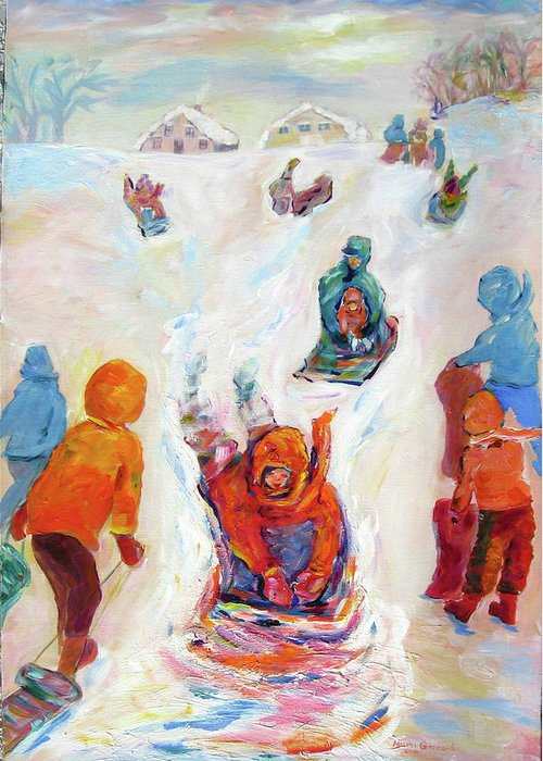 Kids Tobogganing Greeting Card featuring the painting Prairie Winter Fun by Naomi Gerrard