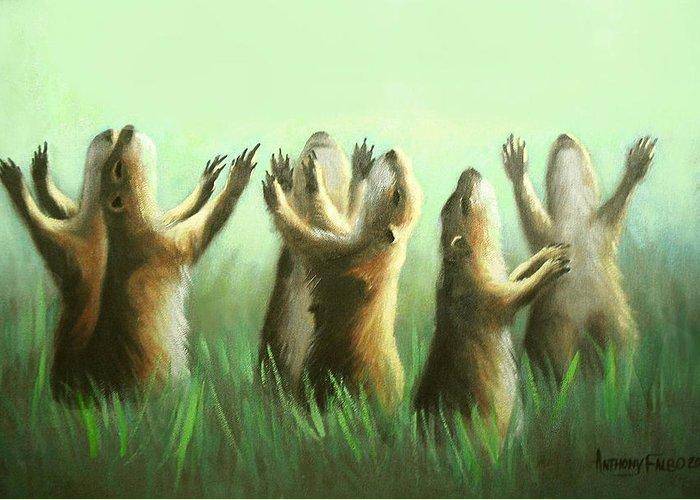 Praising Prairie Dogs Greeting Card featuring the painting Praising Prairie Dogs by Anthony Falbo