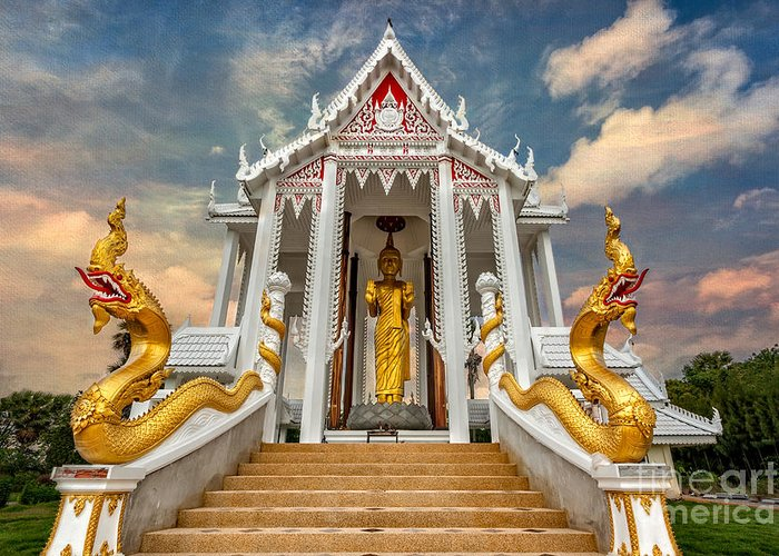 Hdr Greeting Card featuring the photograph Pranburi Temple by Adrian Evans