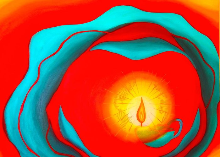 God Greeting Card featuring the painting Pray World Peace by Sister Rebecca Shinas