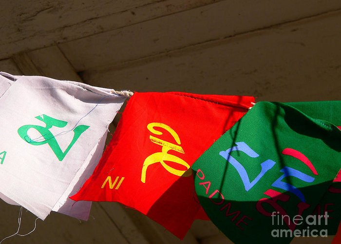 Ancient Greeting Card featuring the photograph Prayer Flags by Angela Wright