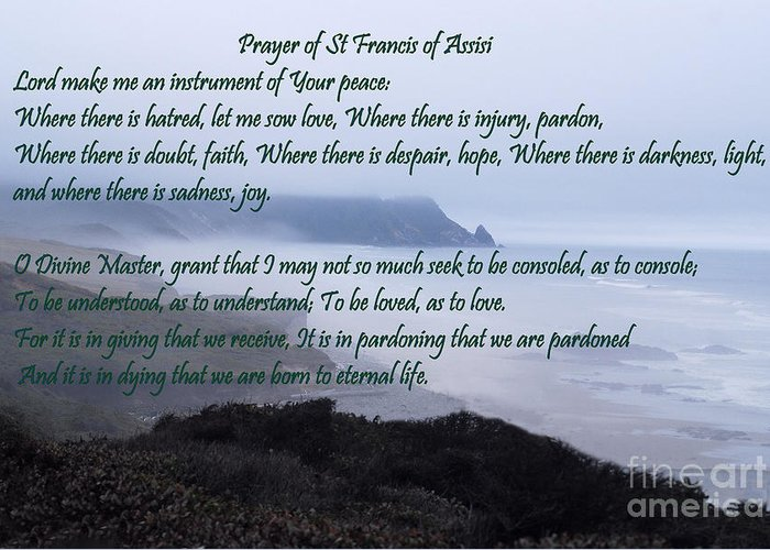 #catholcartgallery Greeting Card featuring the photograph Prayer Of St Francis Of Assisi by Sharon Elliott