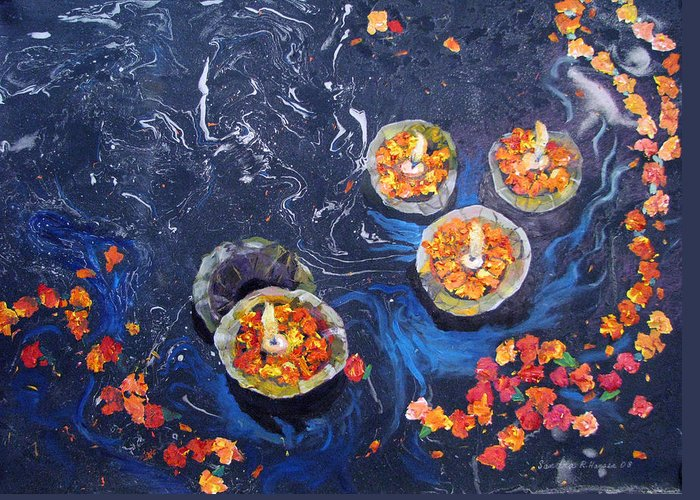 Handmade Paper Greeting Card featuring the painting Prayers To The Ganges River by Art Nomad Sandra Hansen