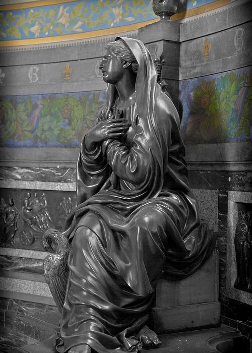 Pray Greeting Card featuring the photograph Praying Statue In Chantilly by Maj Seda