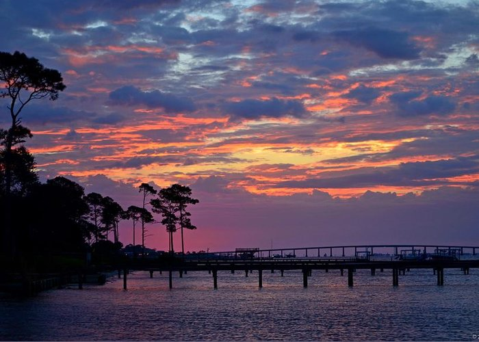 Pre-dawn Greeting Card featuring the photograph Pre-dawn Colors On Santa Rosa Sound by Jeff at JSJ Photography